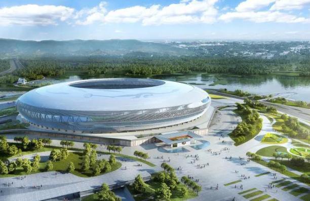 Finalización de la construcción del sistema de impermeabilización del techo del Estadio del Parque Deportivo del Lago Dong'an, la sede principal para los Juegos Mundiales Universitarios Chengdu 2021